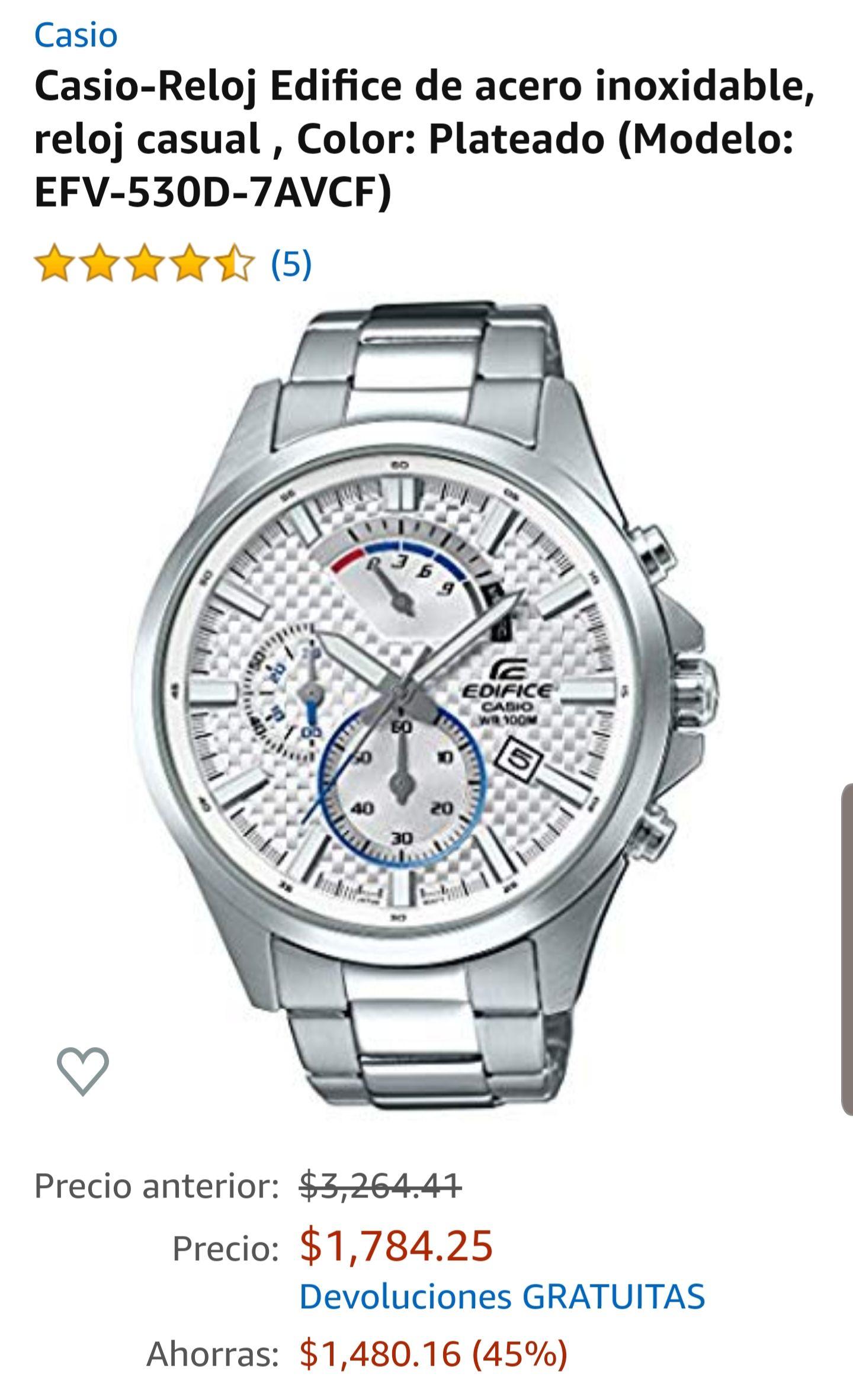 Amazon: Casio-Reloj Edifice de acero inoxidable, reloj casual