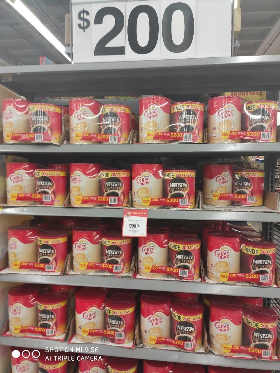 Walmart: Coffe mate y Nescafé clásico 400g