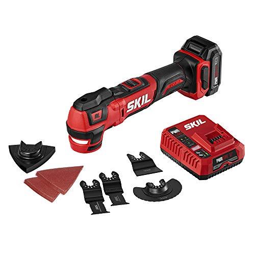 Amazon Multiherramienta Oscilatoria Skill Inalámbrica 12V Incluye cargador, batería y accesorios.
