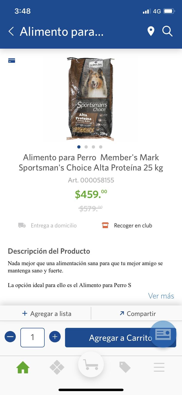 Sam's Club: Alimento para Perro Member's Mark Sportsman's Choice Alta Proteína 25 kg