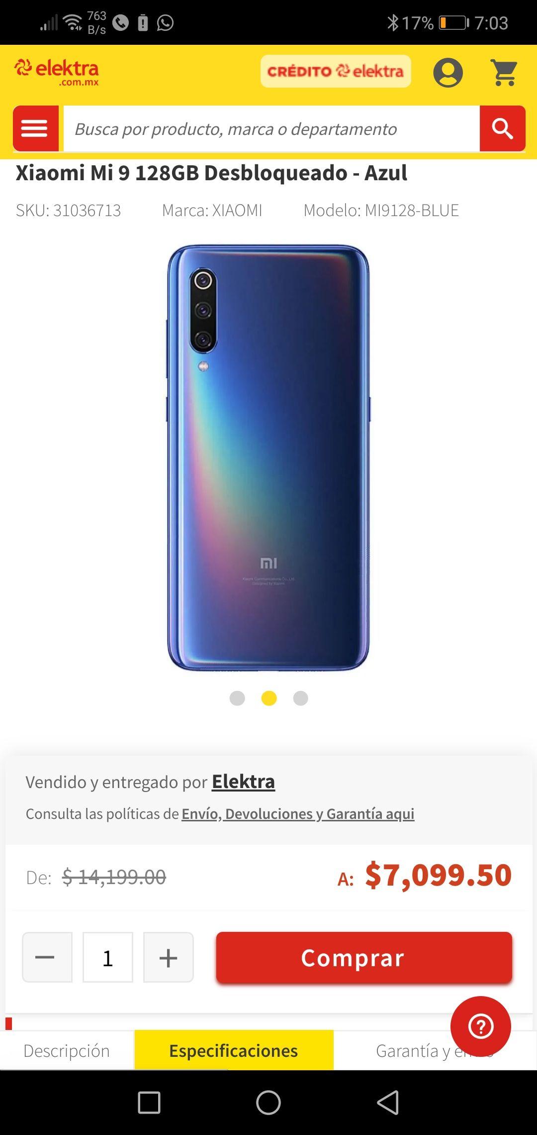 Elektra: Xiaomi Mi 9 128 Desbloqueo azul