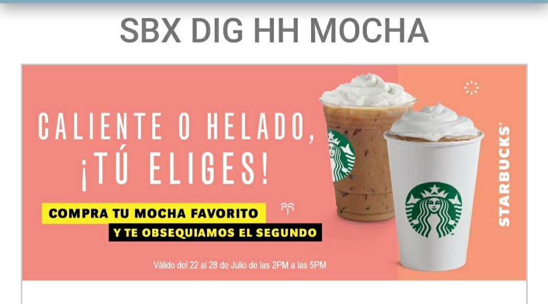 Starbucks: 2x1 en mochas calientes o helados del 22 al 28 de julio de 2 a 5 pm