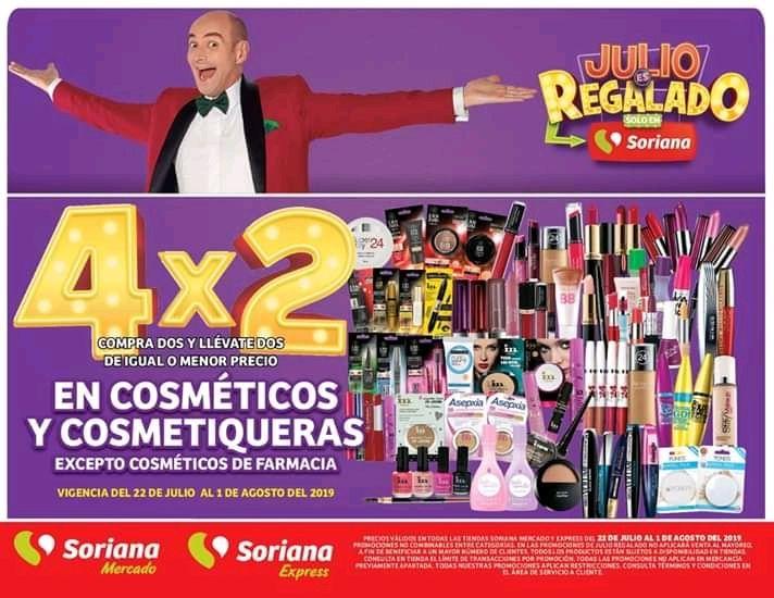 Soriana: 4X2 En Todos los Cosméticos y Cosmetiqueras.