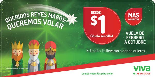 Vivaaerobus promoción Reyes Magos: vuelos desde $1 más impuestos (ejem DF-GDL redondo $835)