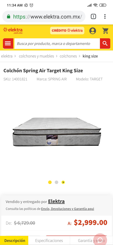 Elektra: Colchón Spring Air Target King Size con Mercado Pago