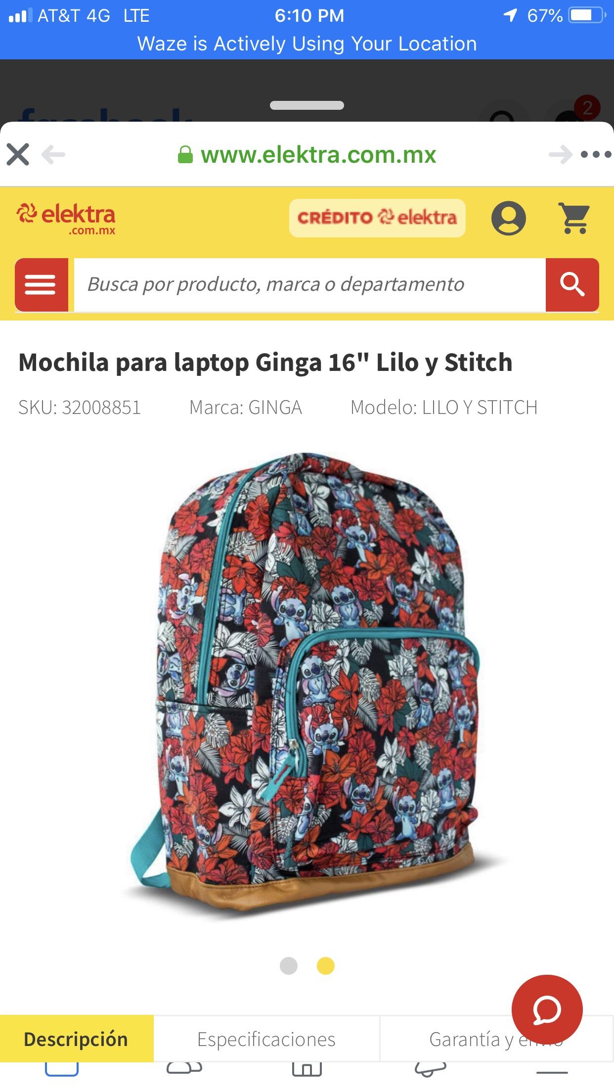elektra Mochila 16'' Lilo y Stitch
