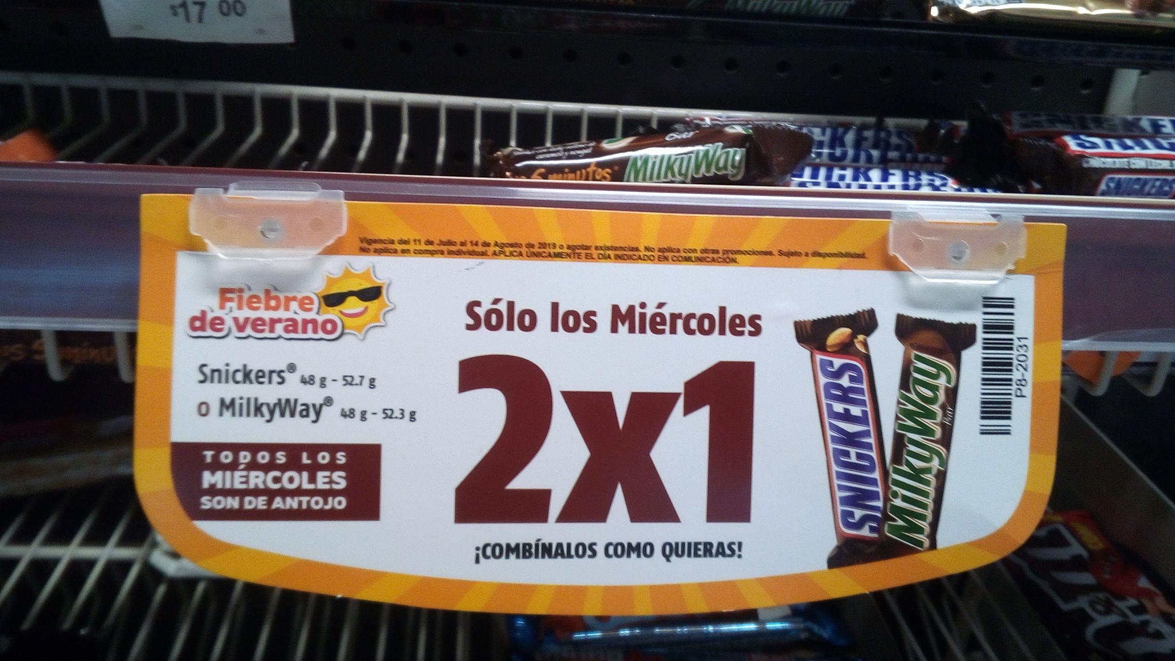 OXXO: 2X1 en Chocolates Snickers o MilkyWay