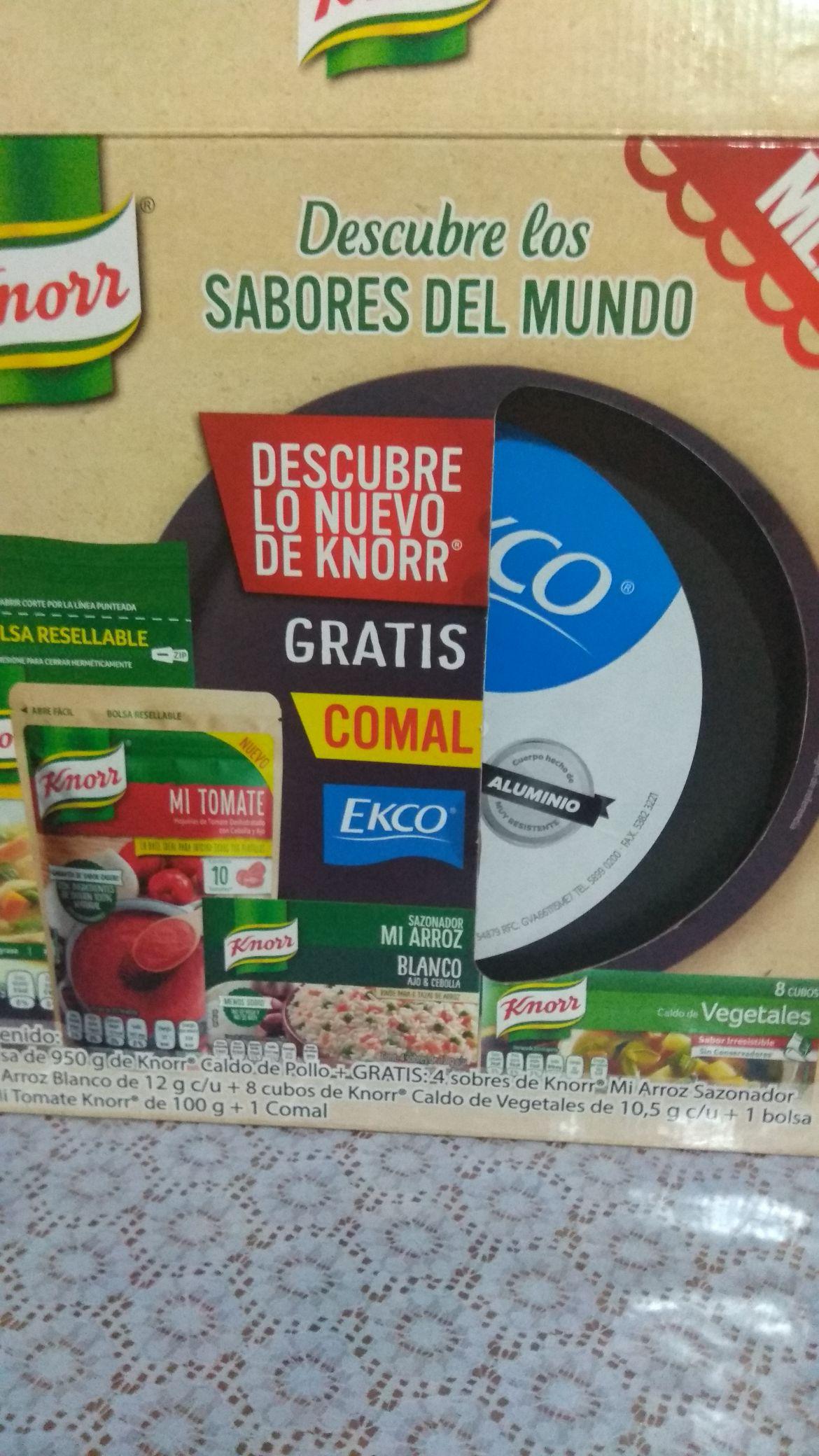 Bodega Aurrera: Caldo de pollo Knor 950g + Comal Ekco y más