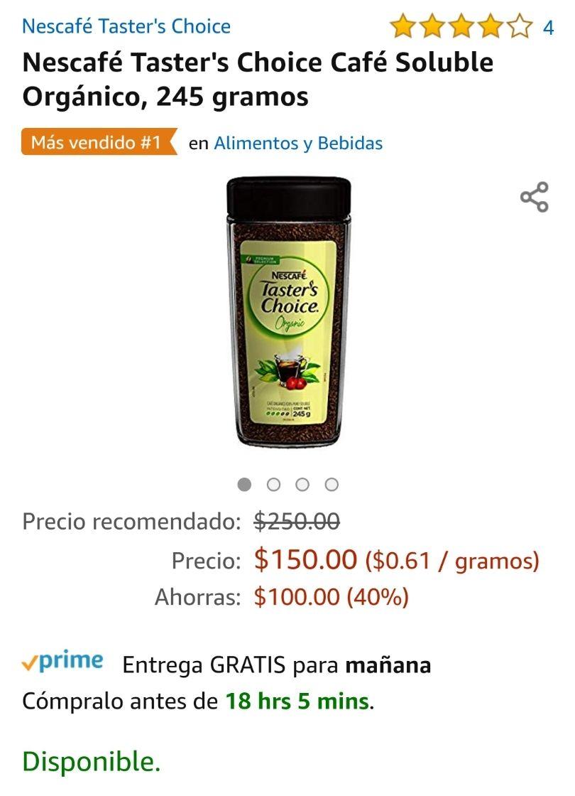 Amazon: Nescafé Taster's Choice Café Soluble Orgánico, 245 gramos, precio comprando 4