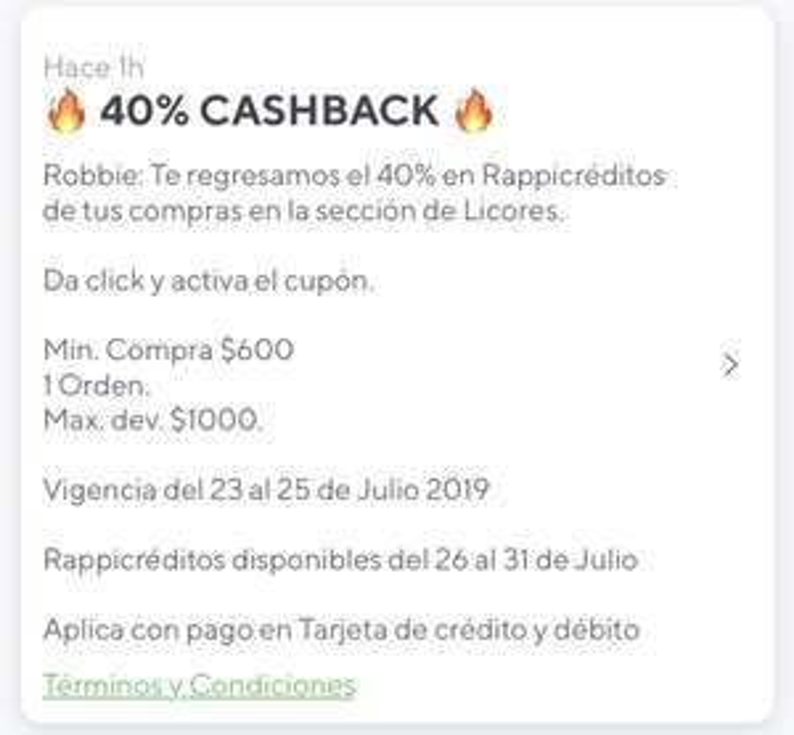 Rappi: 40% Cashback en licores La Europea