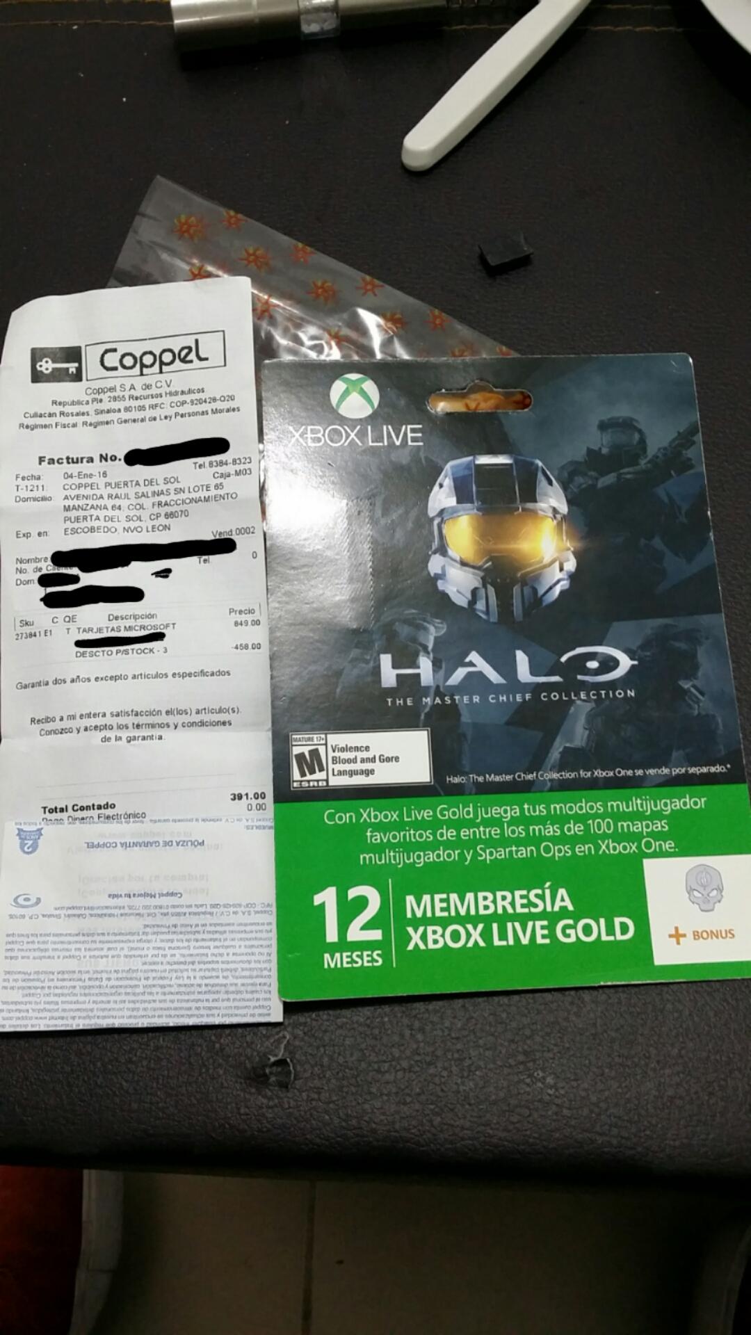 12 meses de Xbox Live Gold en Coppel (suc. Puerta del Sol, Escobedo, N.L.)