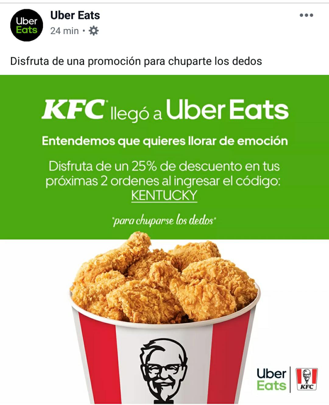 Uber Eats: KFC 25 % en dos órdenes