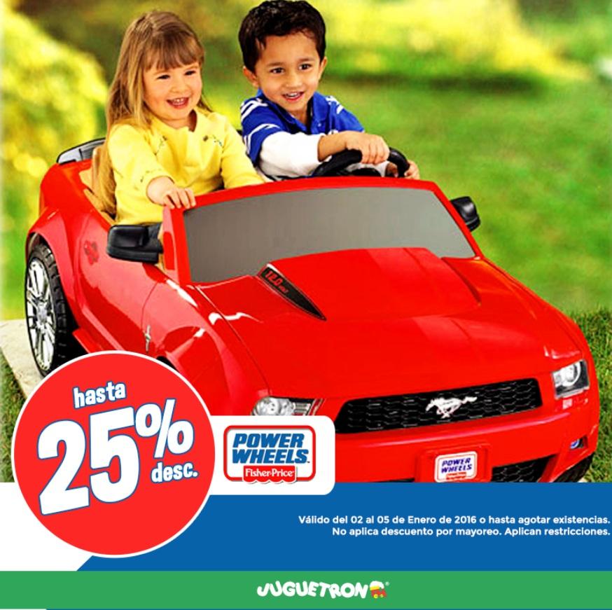 Juguetron: ofertas en juguetes; hasta 25% de descuento en montables Power Wheels Fisher Price y más