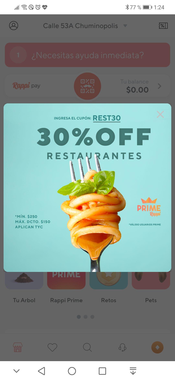 30% off en restaurantes POR RAPPI