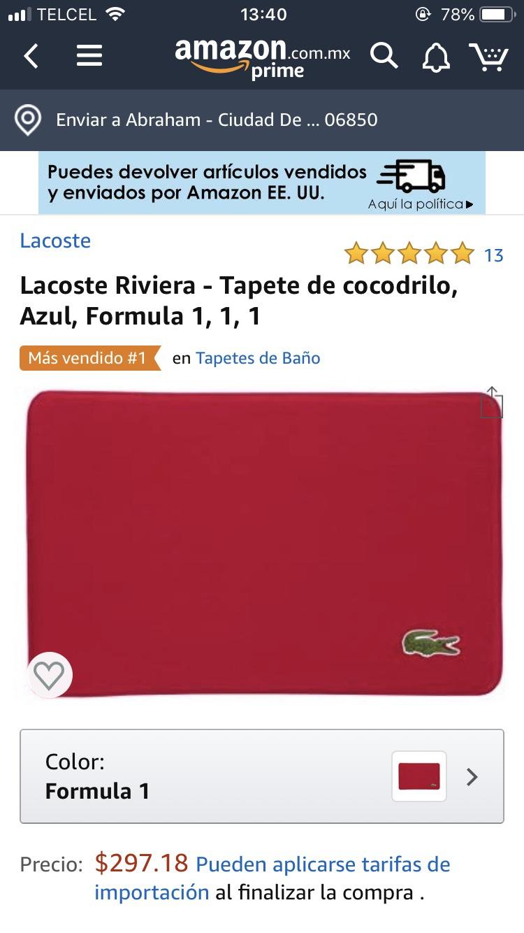 Amazon: Tapete Lacoste rojo (aplica Prime)