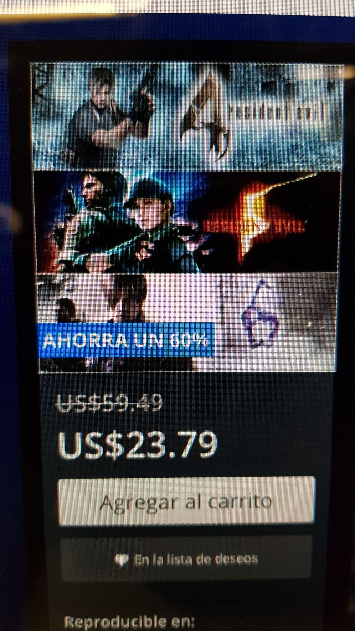 PSN: pack triple Resident Evil 4, 5 y 6 por 23 dólares!
