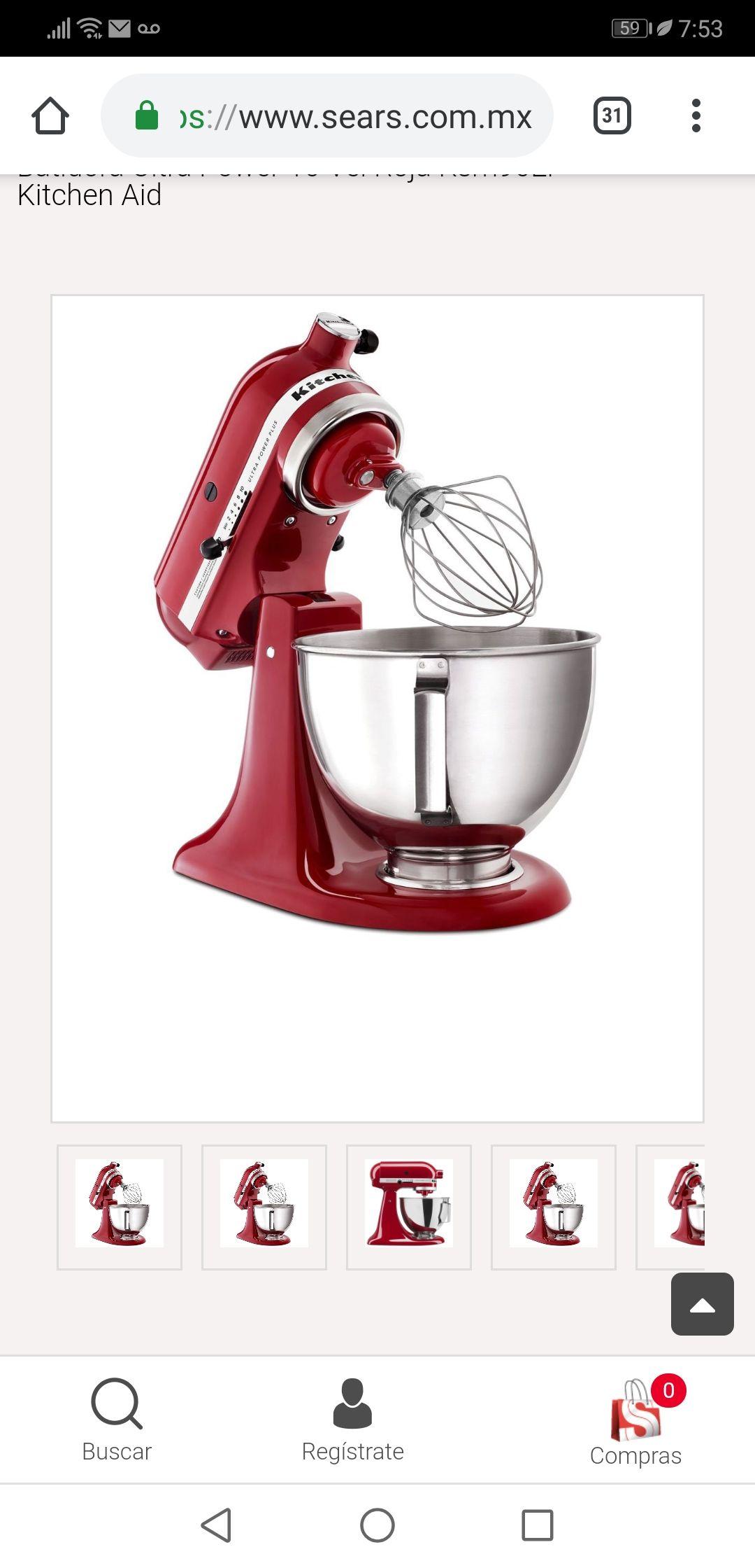 Sears batidora kitchenaid ultra power plus roja de 4.2l