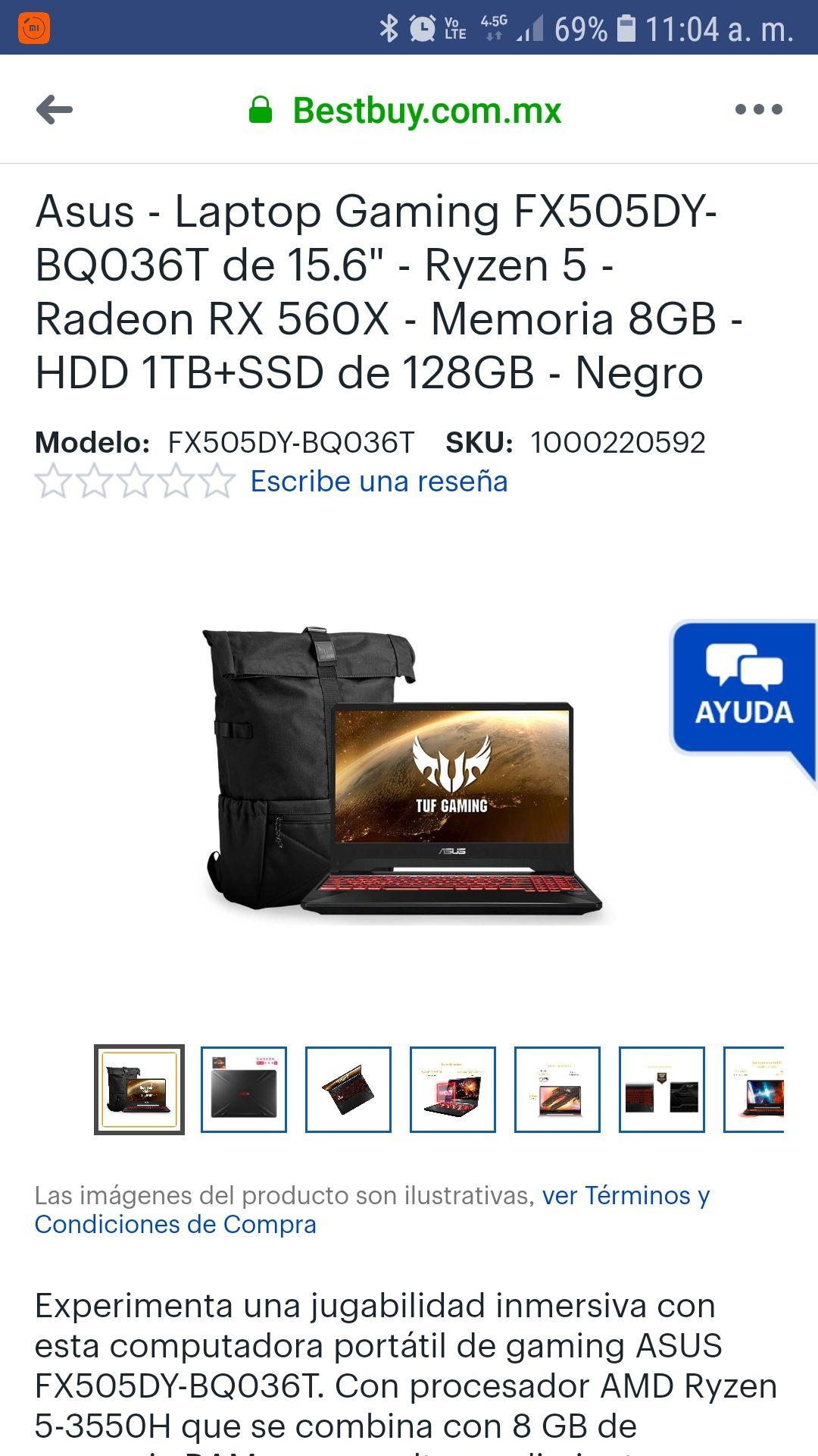 """Best Buy Asus - Laptop Gaming FX505DY-BQ036T de 15.6"""" - Ryzen 5 - Radeon RX 560X - Memoria 8GB - HDD 1TB+SSD de 128GB - Negro"""