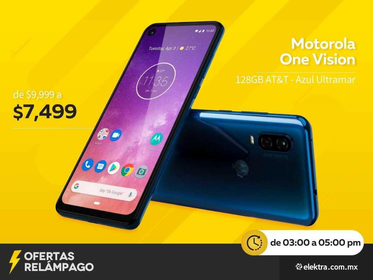 Elektra en línea, Motorola one visión  at&t en oferta relámpago