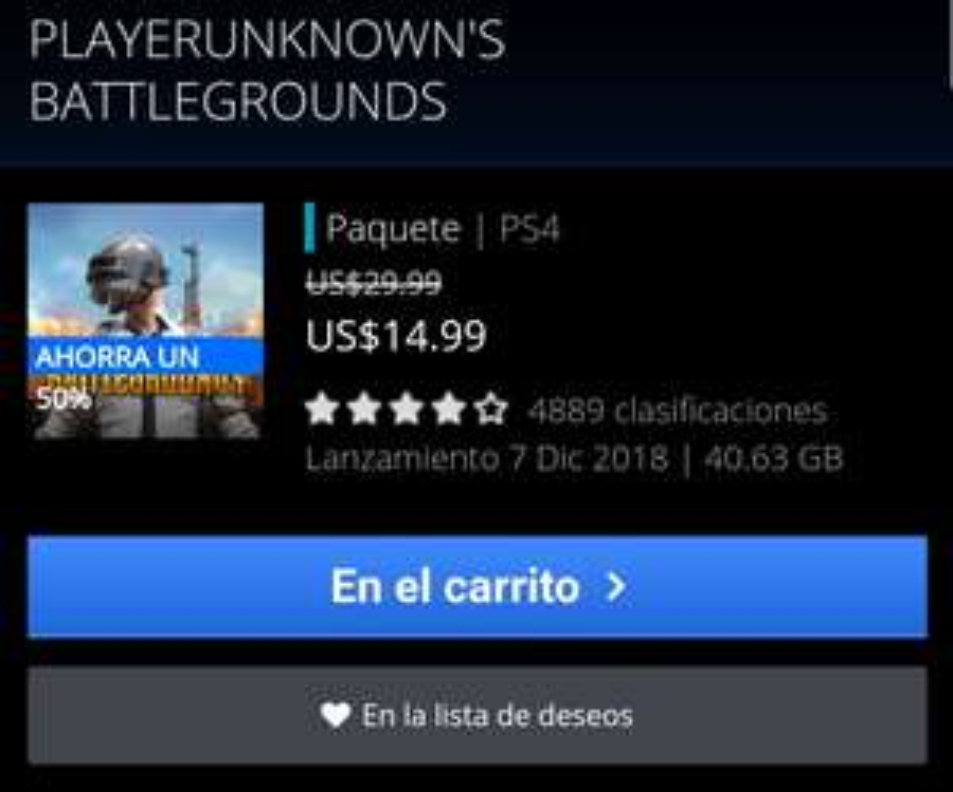 PlayStation Store: PUBG para PS4