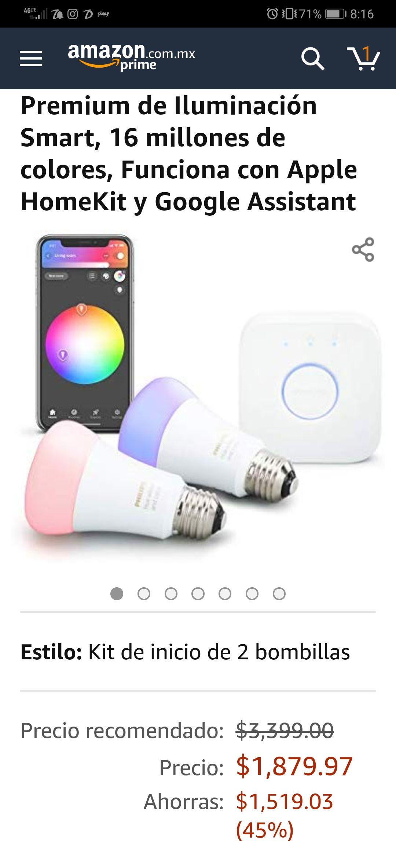 Amazon: Philips Hue 2-Pack Kit Premium de Iluminación Smart, 16 millones de colores, Funciona con Apple HomeKit y Google Assistant