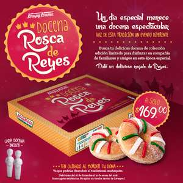 Krispy Kreme: Docena de Rosca de Reyes a $169