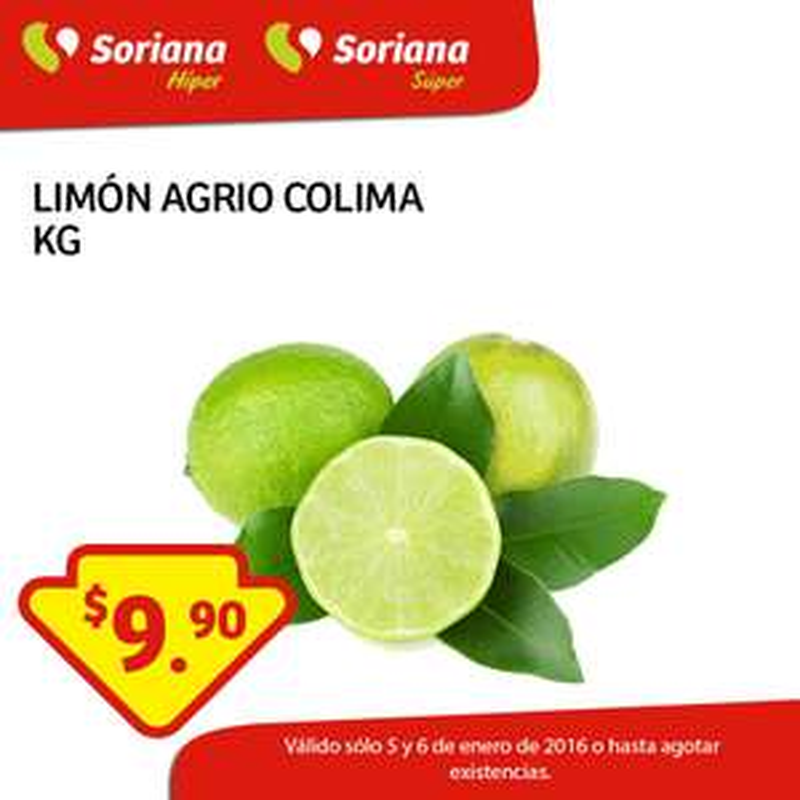 Soriana Hiper y Super: frutas y verduras 5 y 6 de enero: limón agrio colima a $9.90 el kilo