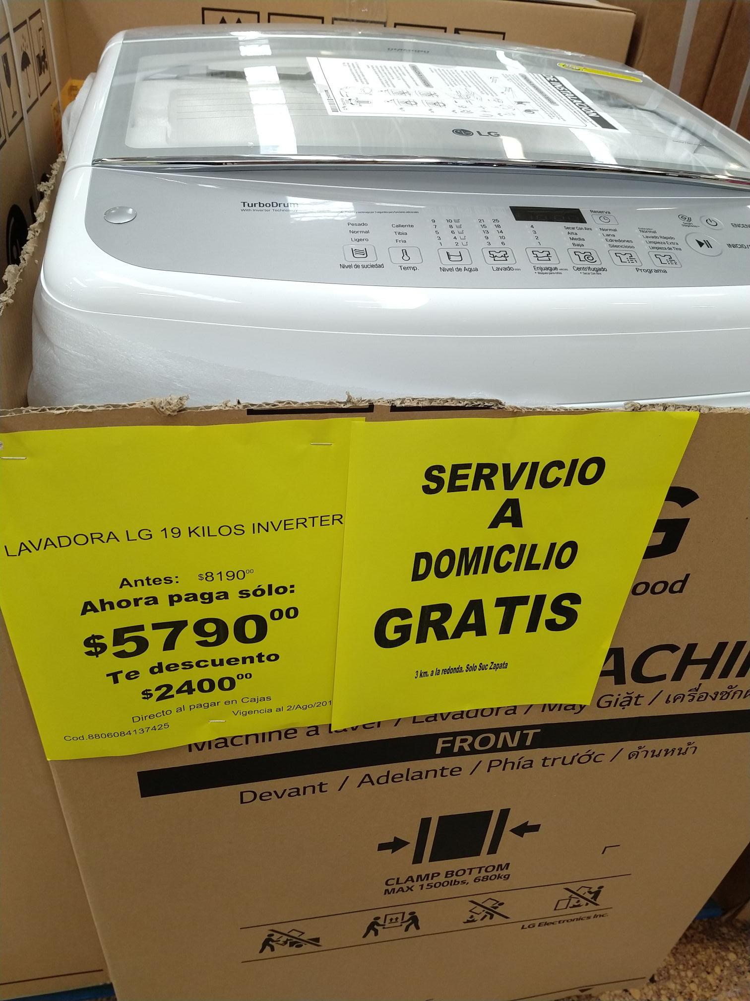 Soriana: lavadora LG inverter 19 kg