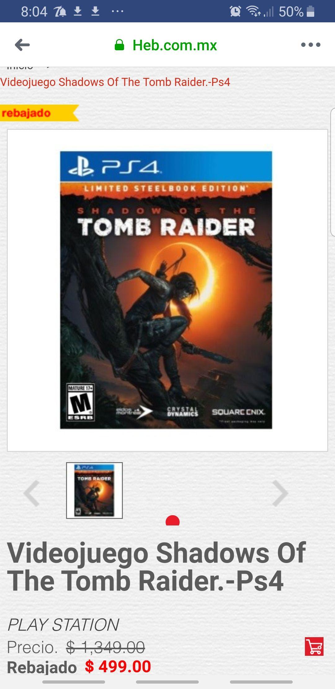 HEB en línea: Videojuego Shadows Of The Tomb Raider.-Ps4