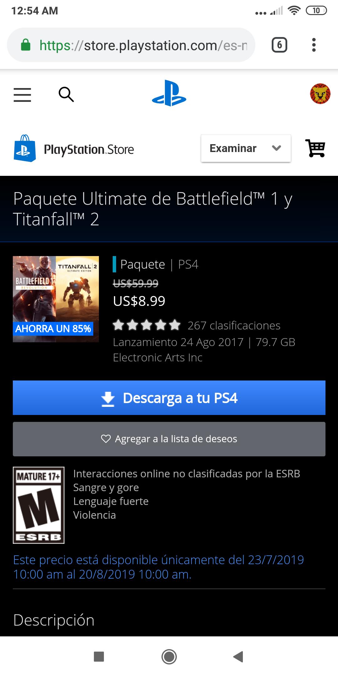 PlayStation Store: paquete Titan fall 2 y Battlefield 1 con todo su contenido descargable