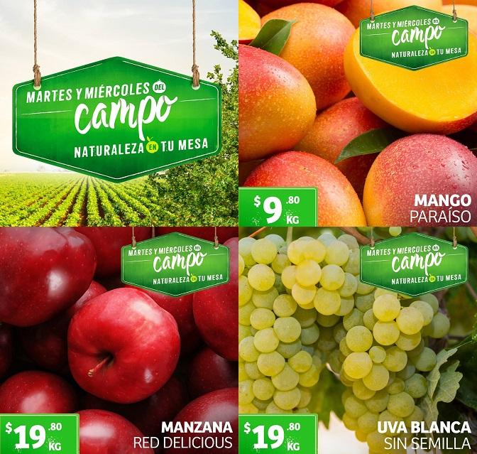 Soriana: Martes y Miércoles del Campo 30 y 31 Julio: Mango Paraíso $9.80 kg... Uva Blanca sin Semilla ó Manzana Red Delicious $19.80 kg.