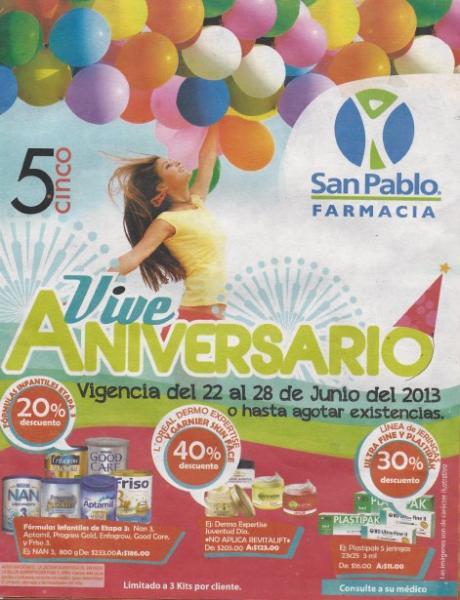Aniversario Farmacias San Pablo: 2x1 en Mucosolvan, 3x2 en pañales Suavelastic Max y +