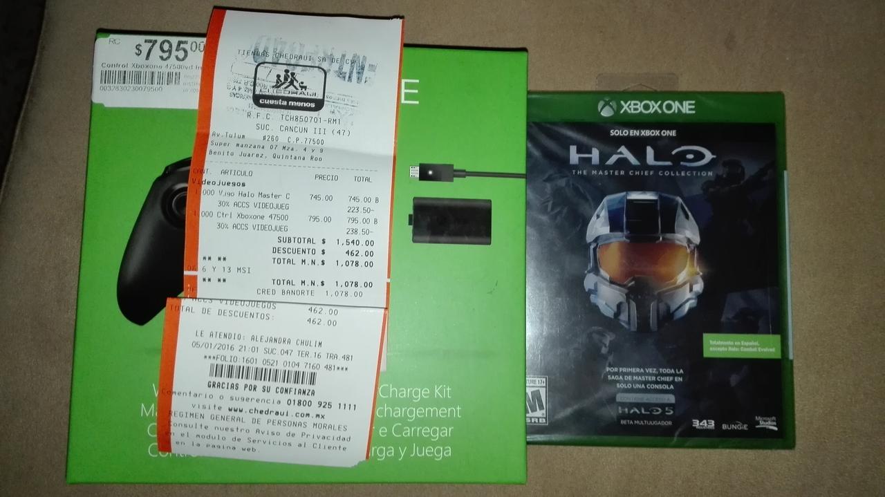Chedraui Cancún las Américas: Control Xbox One + Kit Carga y Juega a $556.50 y Halo MCC a $521.50 y más