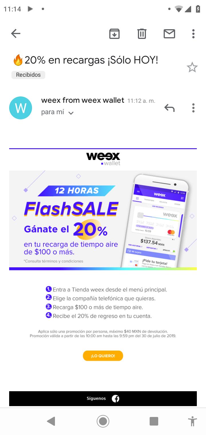 Weex Wallet: Cashback del 20% en recargas de 100 o más