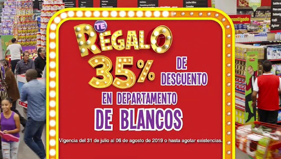 Julio Regalado 2019 en Soriana: 35% en Departamento de Blancos
