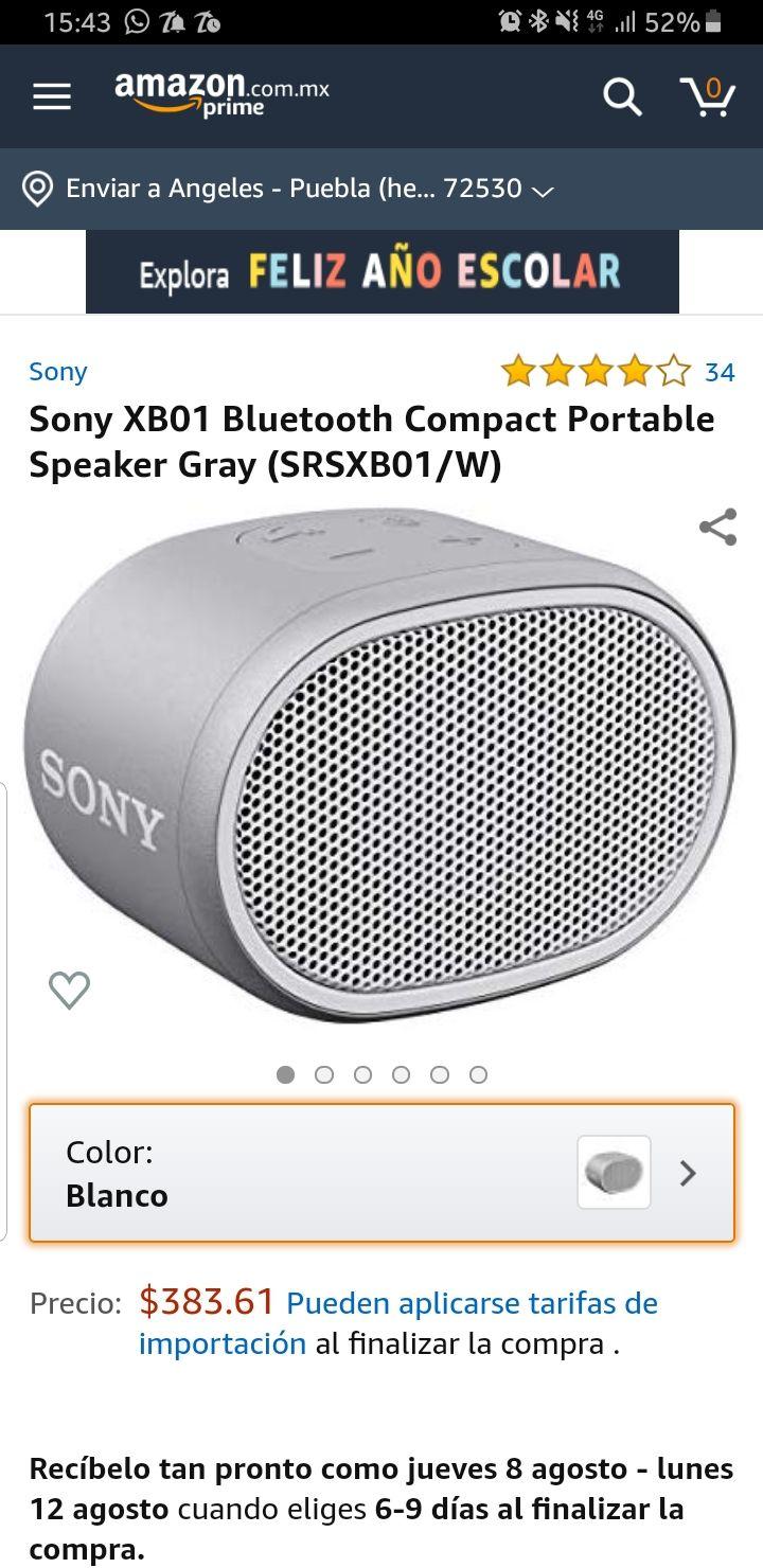Amazon: bocina Sony Bluetooth srs xb01