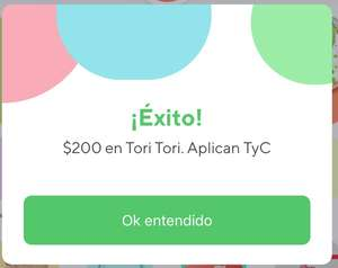 Rappi: Descuento $200 en Tori Tori