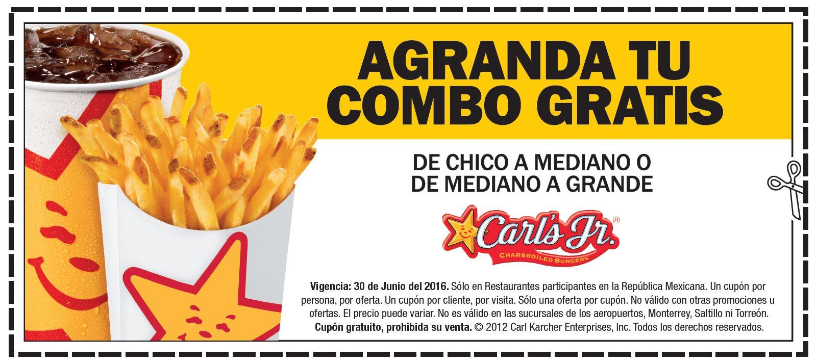 Carl's Jr: Cupones de descuento para agrandar tu combo GRATIS