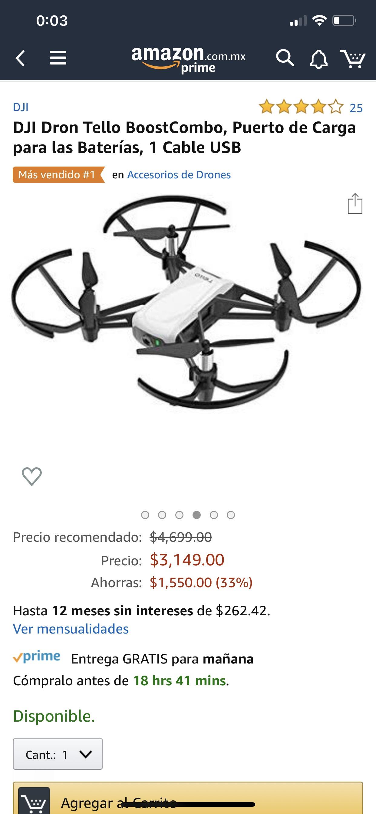 Amazon: Dron dji Tello boost paquete 12 MSI