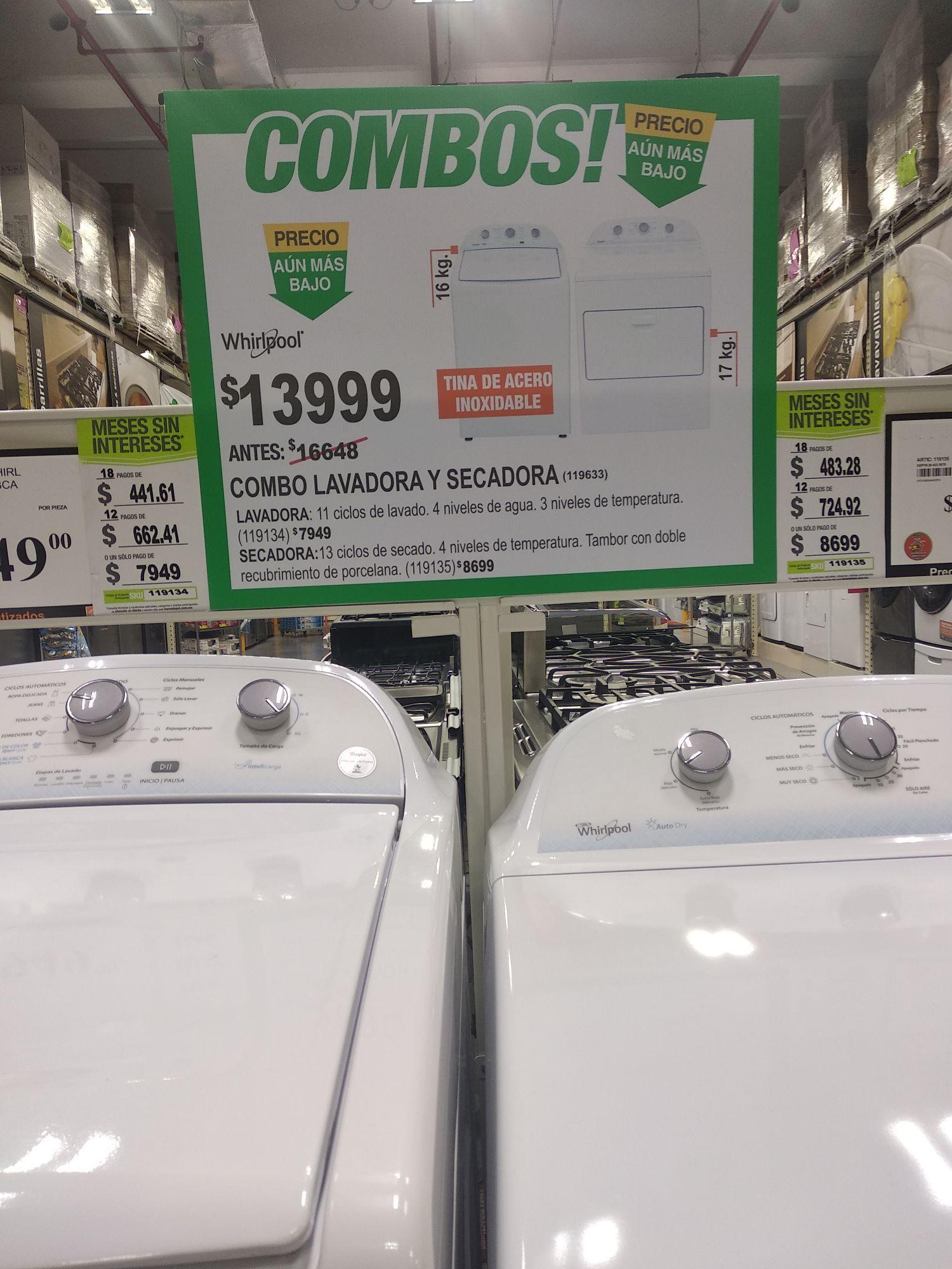 Home Depot: Combo lavadora y secadora Whirlpool