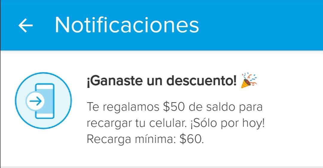 Mercado Pago: $50 pesos de regalo en recargas en