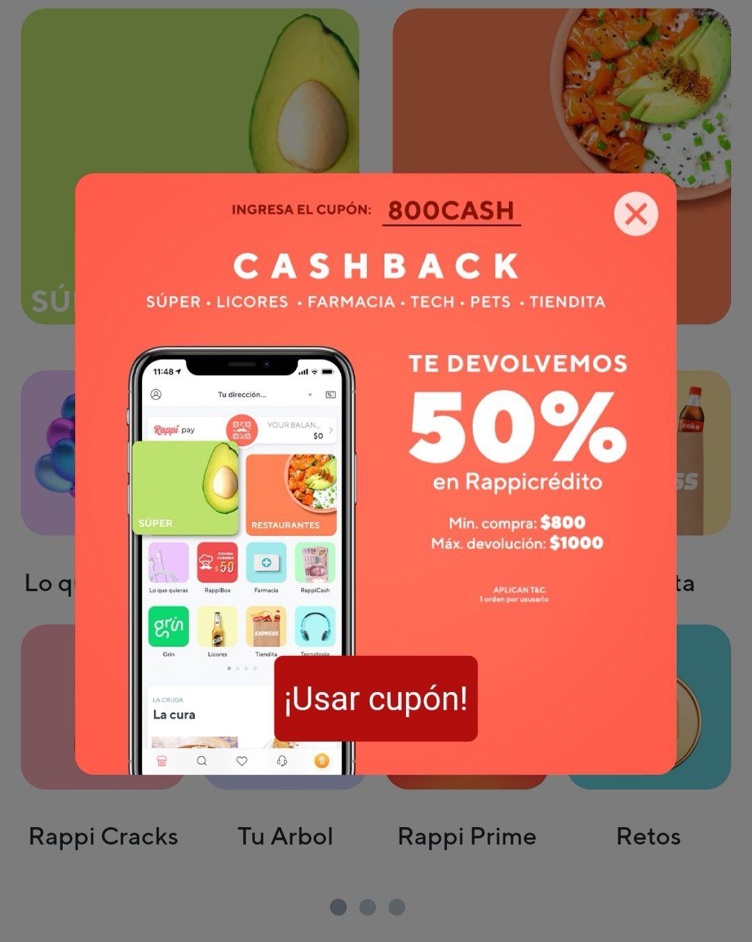 50% en cashback por rappi