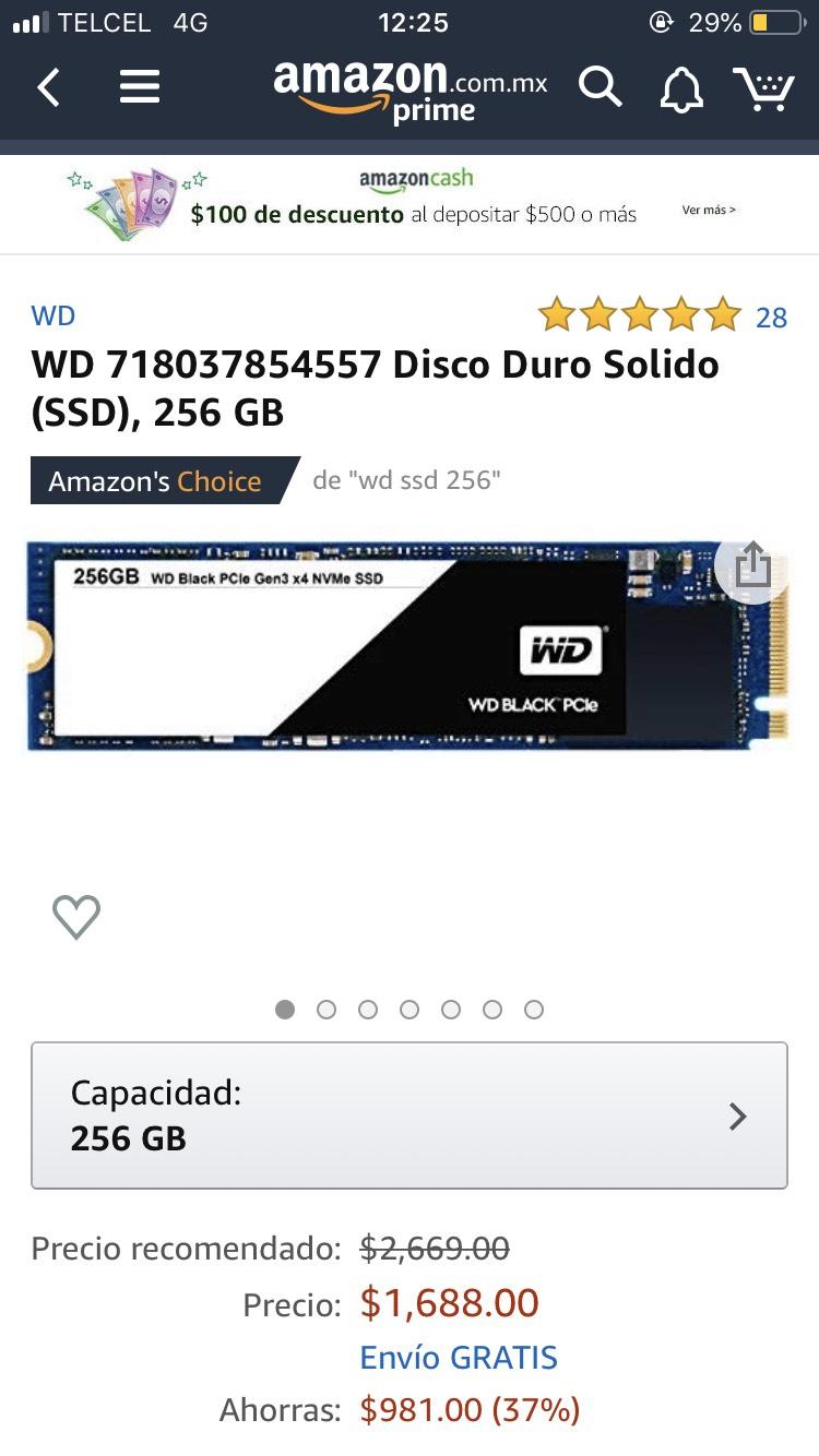 Amazon: unidad de estado sólido (SSD) NVMe WD de 256 GB