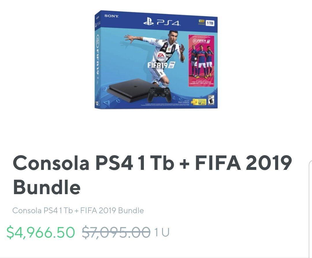 Rappi: Consola PS4 1 Tb + FIFA 19