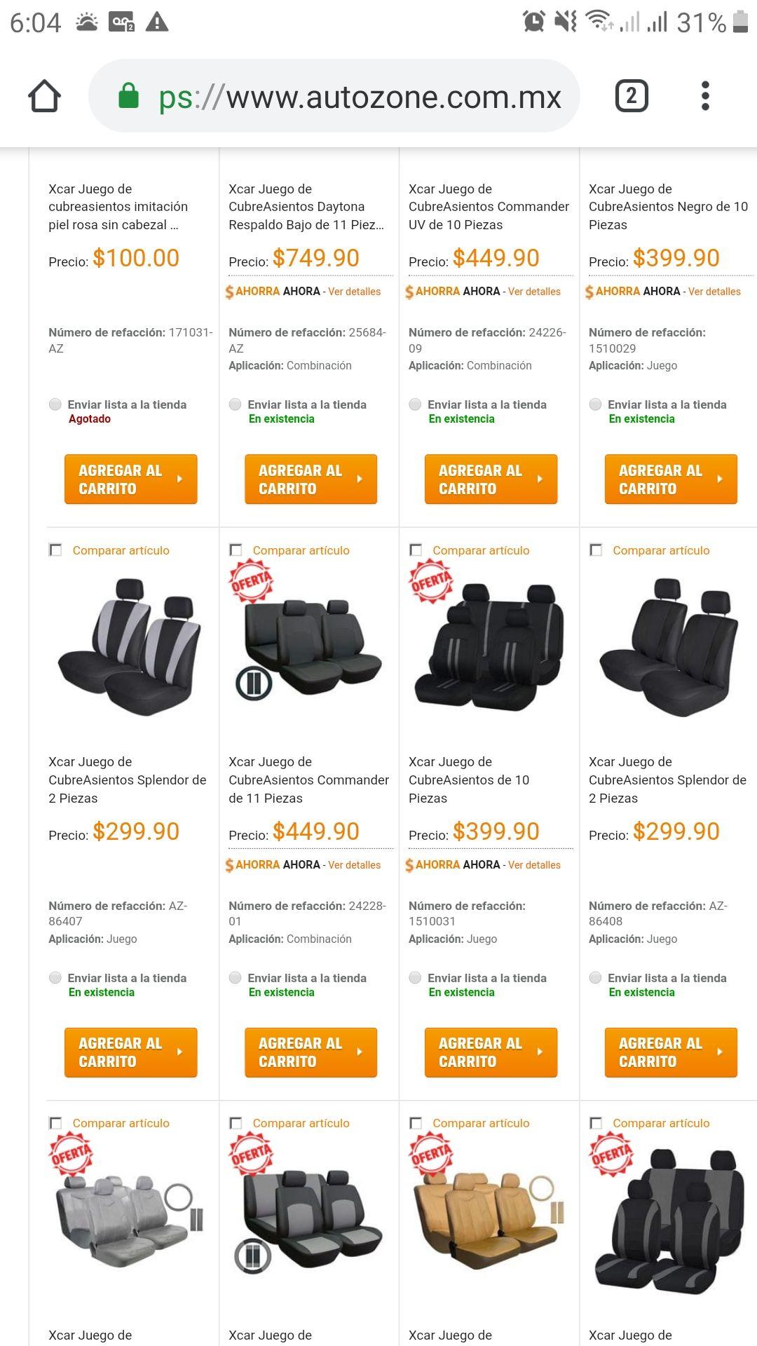 Autozone: Gran variedad de cubre asientos en oferta, desde 300 pesos