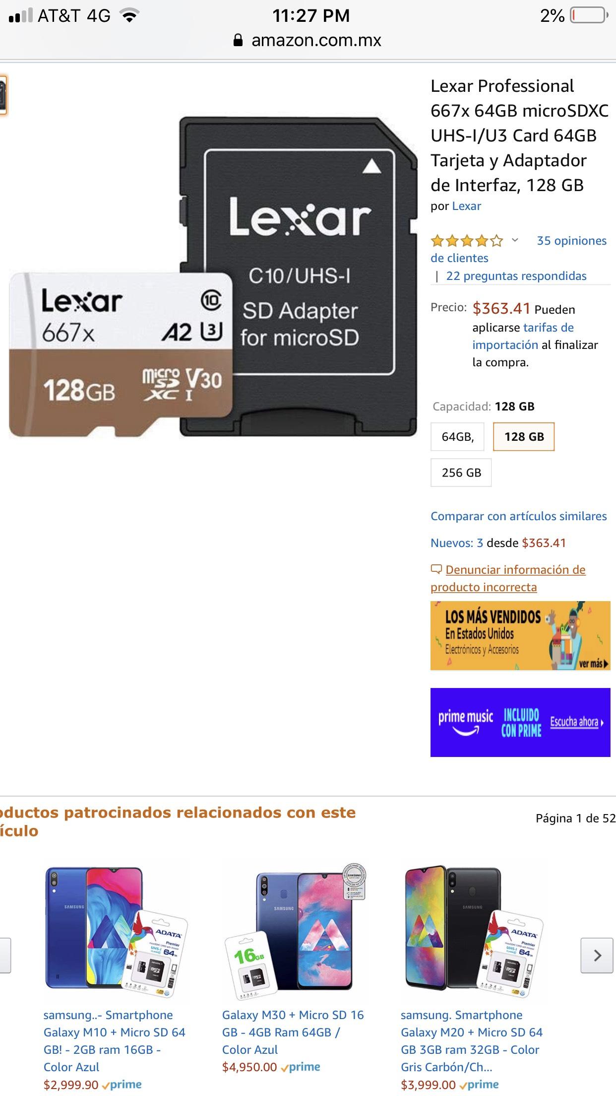 Amazon: Micro sd 128 GB U3