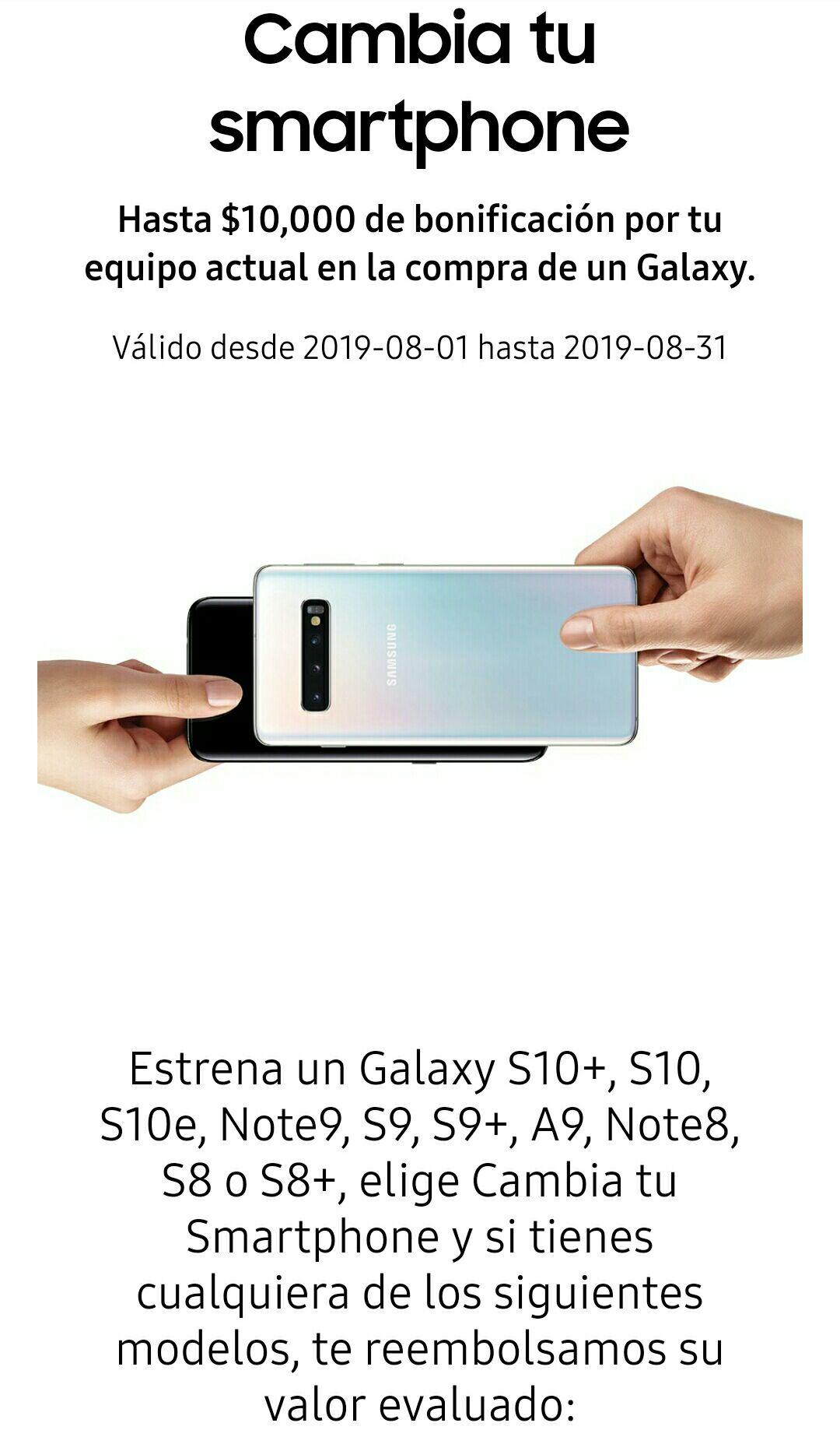 Samsung: Cambia tu smartphone y recibe hasta $10,000 de bonificación en la compra de un Galaxy