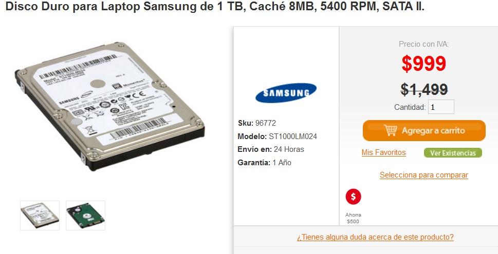 PCEL: Disco duro para laptop 1 TB SATA II a $999