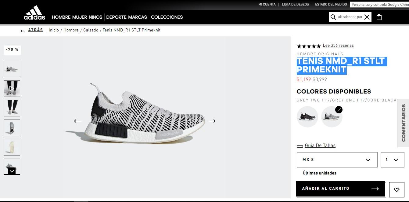 Adidas TENIS ADIDAS NMD_R1 STLT PRIMEKNIT con 70% dcto. +$99envio