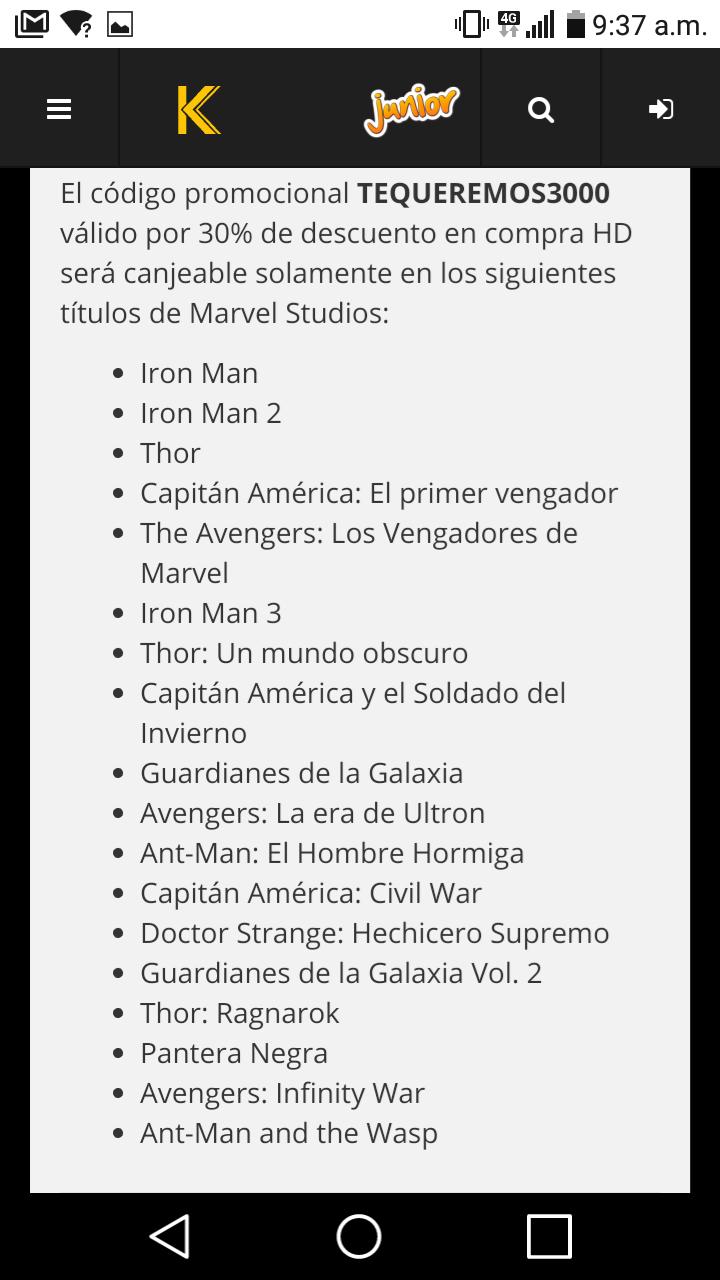 Cinepolis klick: 30% de descuento en peliculas Marvel.